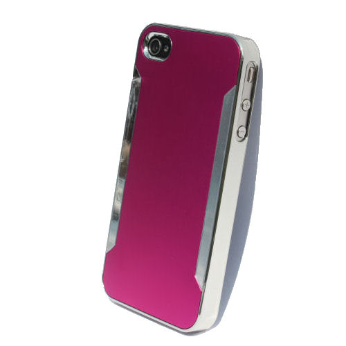 Plastik cover til iPhone 4 / 4S i metal-look. Pink.