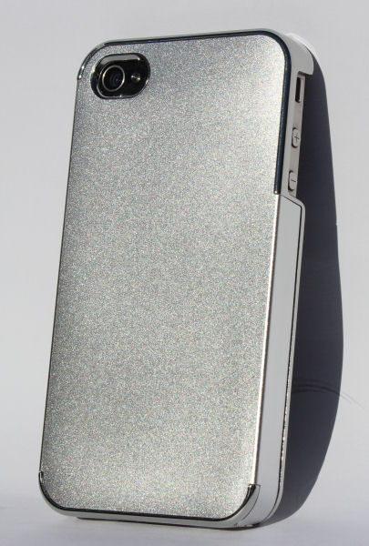 """iPhone 4 / 4S alucover med """"metal""""-kant. Silver."""