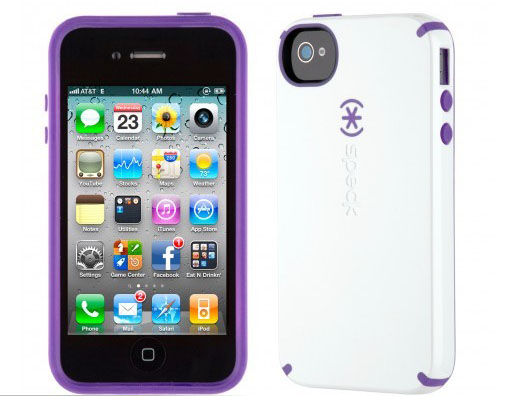iPhone 4 and 4S SPECK® CandyShell cover. Hvid/Lilla.