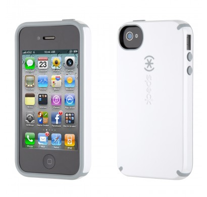 iPhone 4 and 4S SPECK® CandyShell cover. Hvid/Lysegrå.