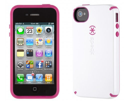 iPhone 4 and 4S SPECK® CandyShell cover. Hvid/Lyserød.