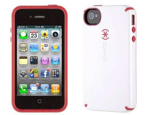 iPhone 4 and 4S SPECK® CandyShell cover. Hvid/Rød.