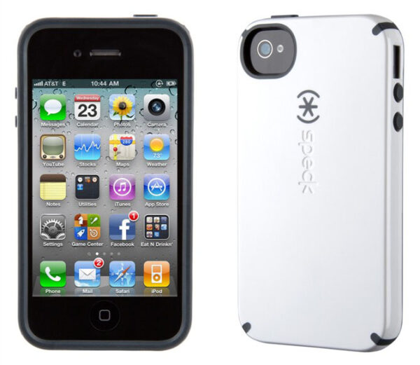 iPhone 4 and 4S SPECK® CandyShell cover. Hvid/Sort.