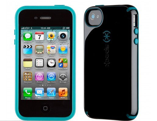 iPhone 4 and 4S SPECK® CandyShell cover. Sort/Turkis.